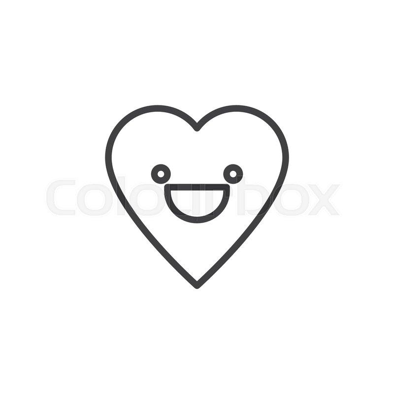 Happy Face emoticon outline icon      | Stock vector | Colourbox
