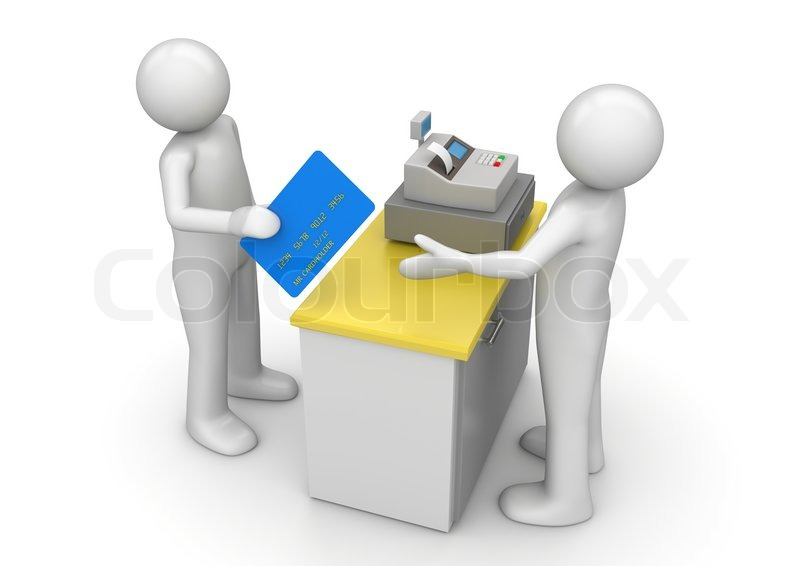 Paying By Credit Card On Cash Desk Finance Collection