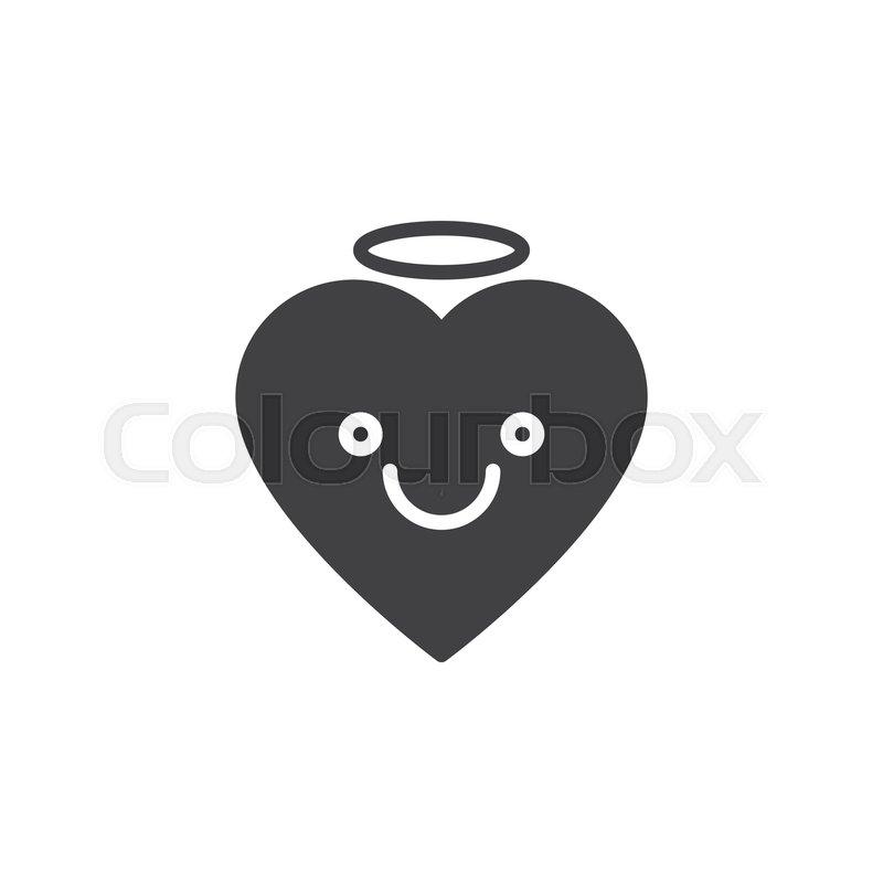 Angel Face Emoticon Vector Icon Stock Vector Colourbox