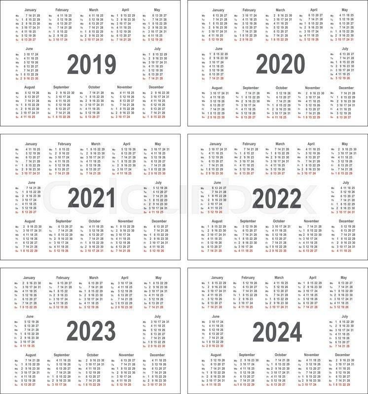 2022 2023 Pocket Calendar.Simple Calendar For 2019 2020 2021 Stock Vector Colourbox