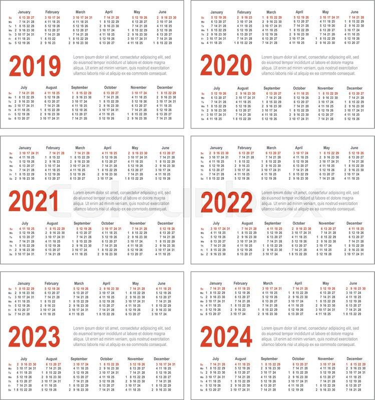 2022 Hebrew Calendar.Simple Horizontal Calendar For 2019 Stock Vector Colourbox