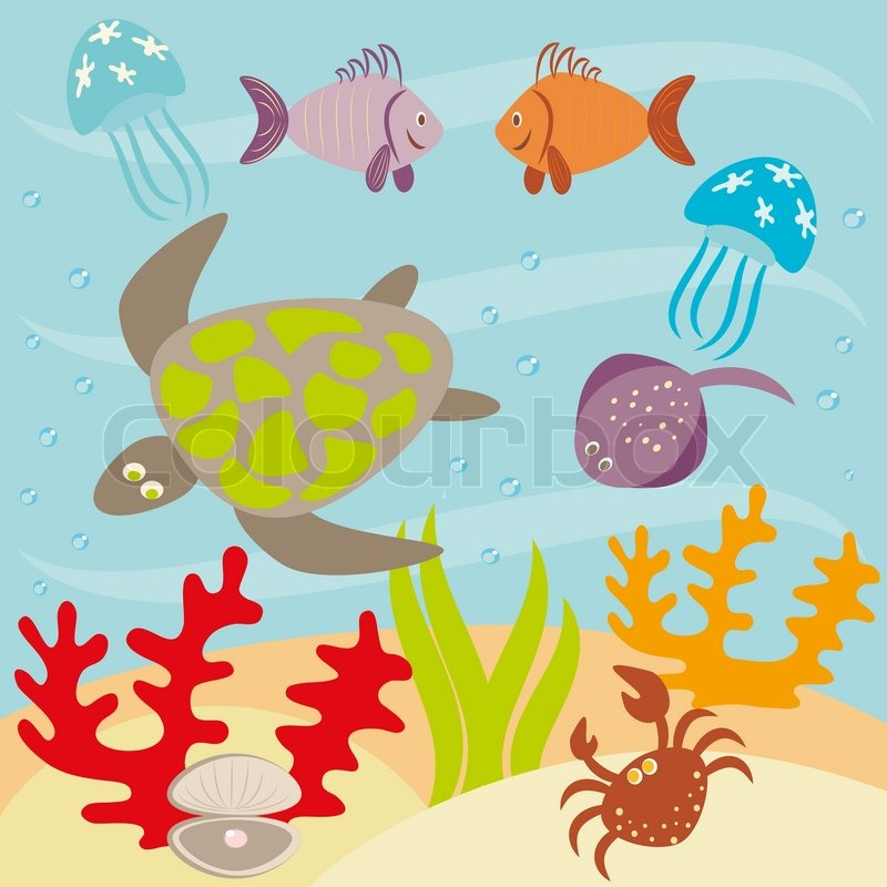 unterwasserlandschaft und tiere leben im ozean