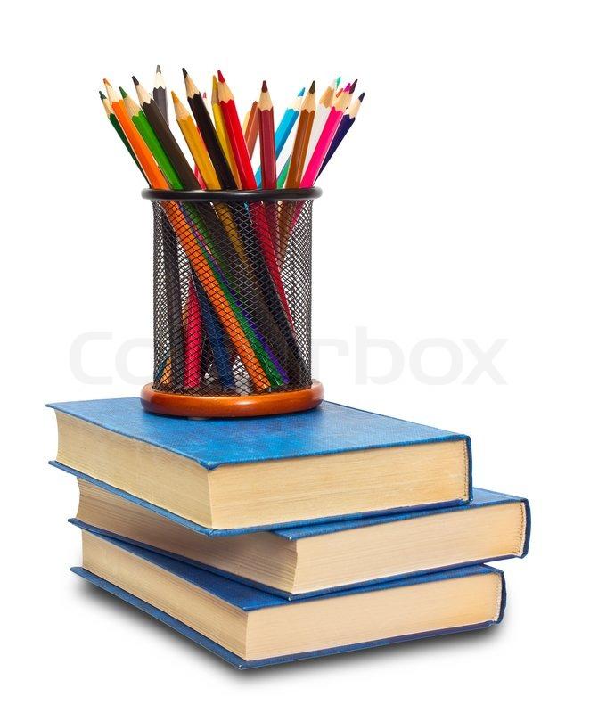 Book and pencils | Stock Photo | Colourbox
