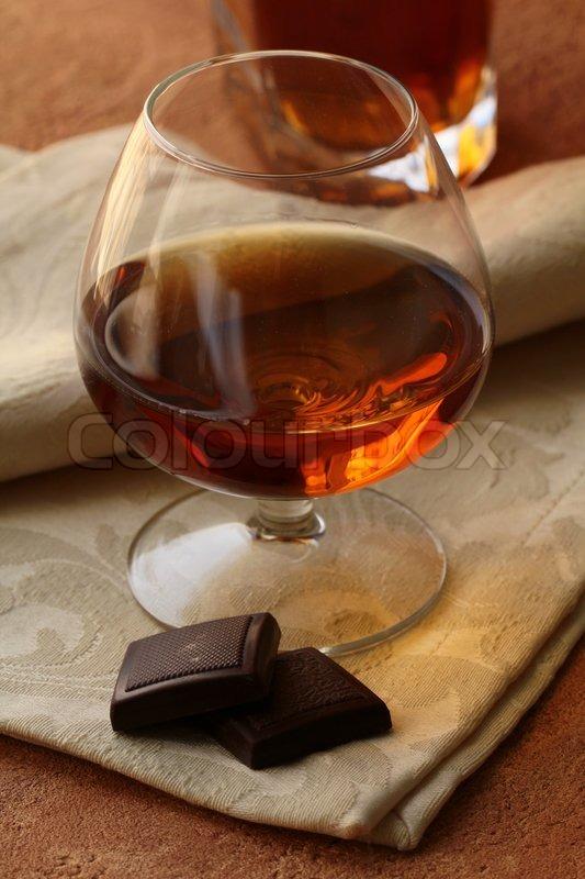 Brandy Glass Glass of Brandy And Chocolate