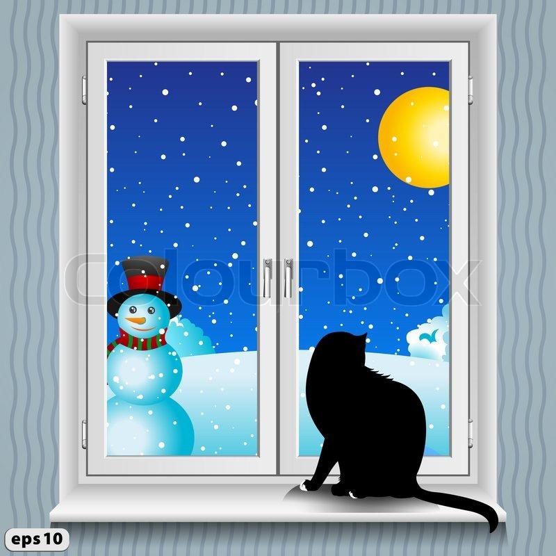 fenster und katze im winter stockfoto colourbox. Black Bedroom Furniture Sets. Home Design Ideas