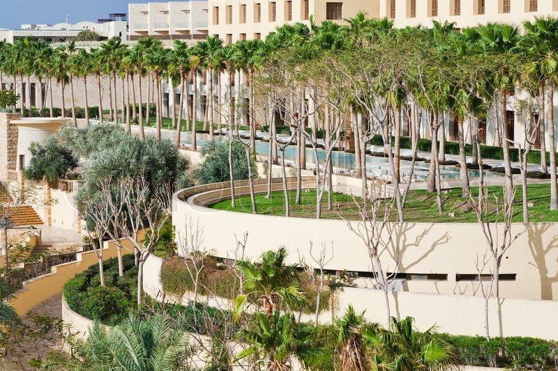 View on resort buildings on Dead Sea coast, stock photo