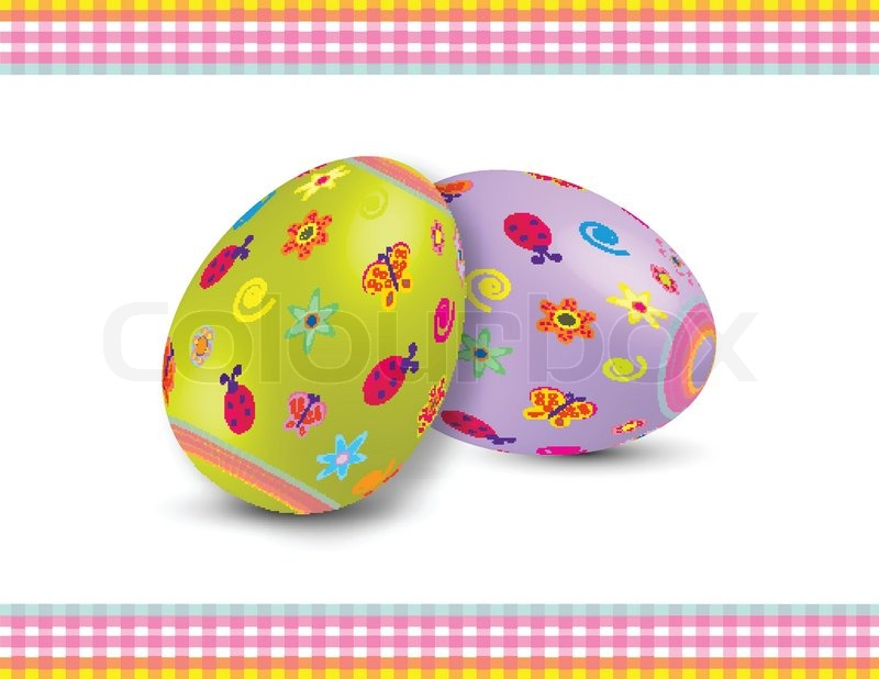 Two Decorated Easter Eggs With Summer Symbols On White Background For Different Uses
