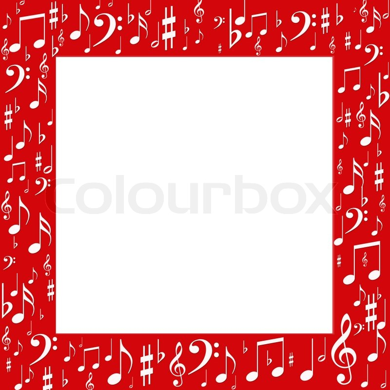 Red frame, white music notes | Stock Photo | Colourbox