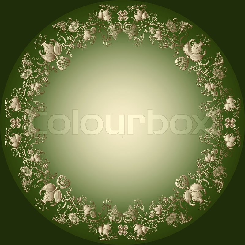 Green Gold Easter Frame Stock Vector Colourbox