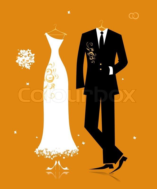 Hochzeit Bräutigam Anzug und Braut Kleid für Ihr design ...