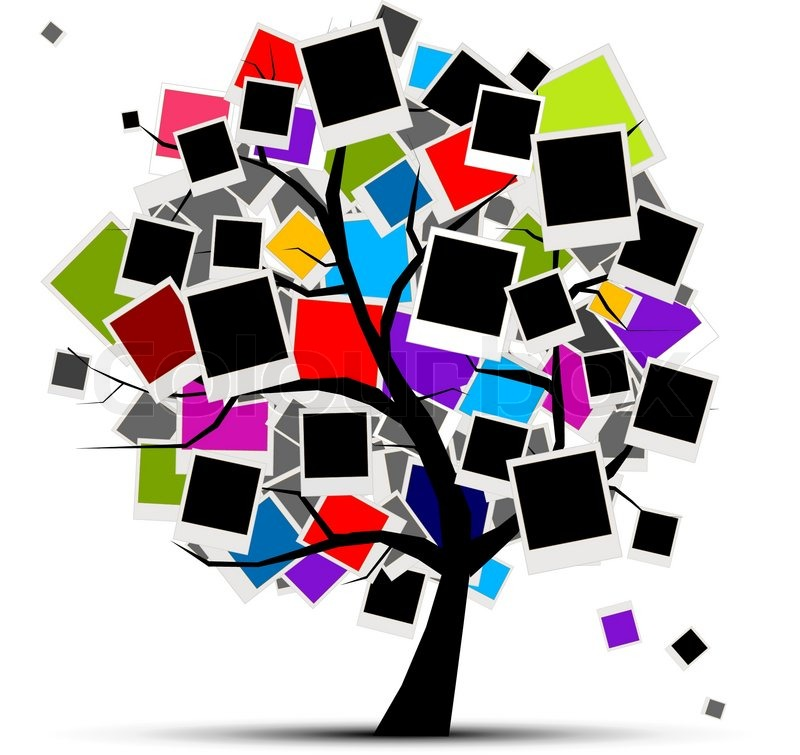 Memories Tree With Photo Frames For Your Design Insert