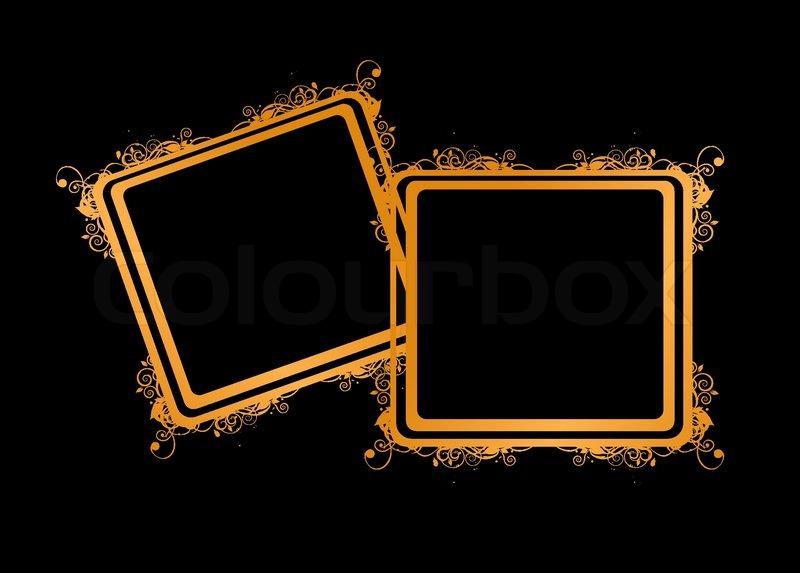 Couple of golden frames, insert your photos | Stock Vector | Colourbox