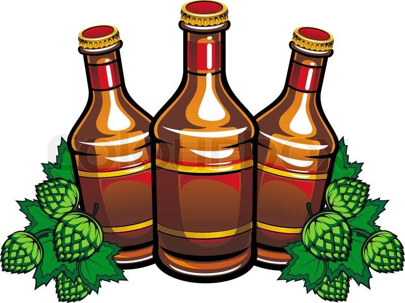 Botella De Cerveza Dibujo: Bierflaschen Und Hopfenblätter