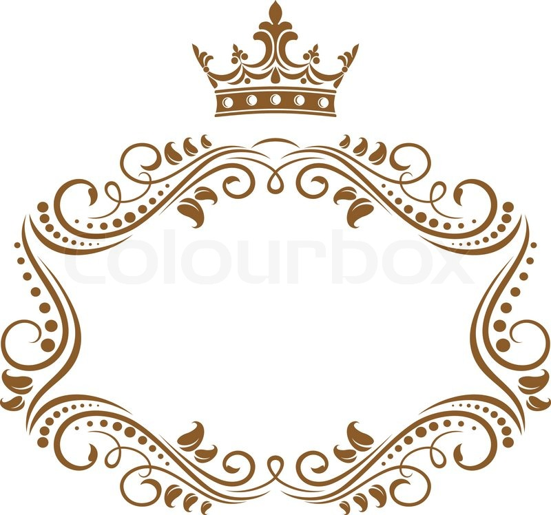 Elegant Royal Frame With Crown Stock Vector Colourbox