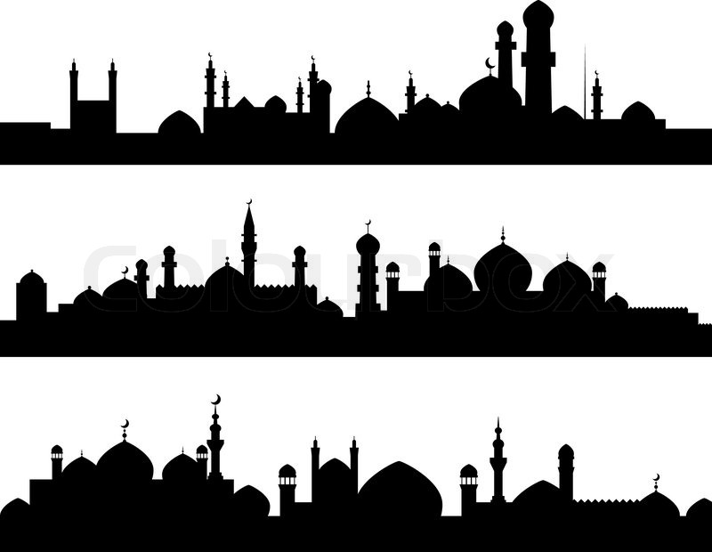 Muslim cities silhouettes, vector
