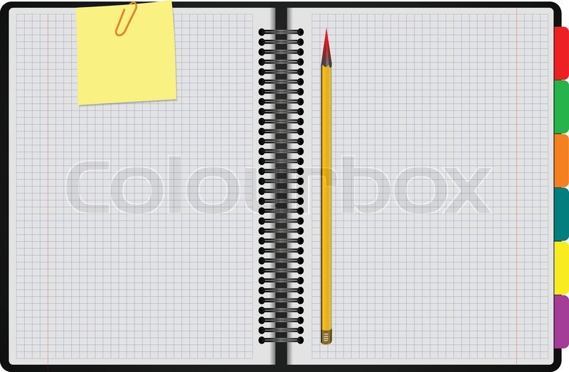 Black Notebook Open On White Background With Clipped Yellow None Vector Illustration Vector 3664521 on How To Write A Book And Get It Published