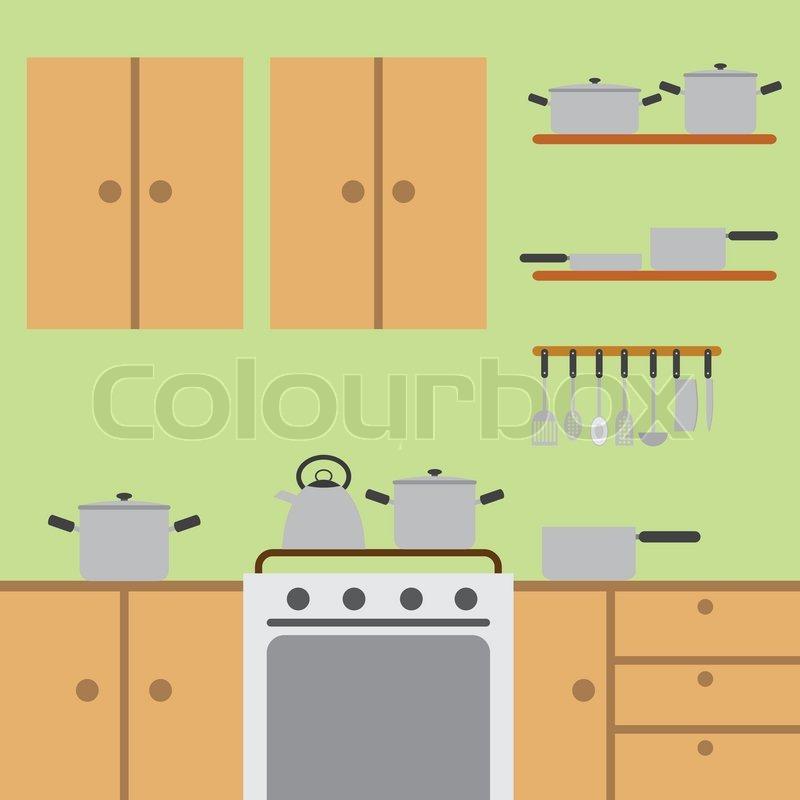 Kitchen room vektorgrafik colourbox for Kitchen room cartoon images