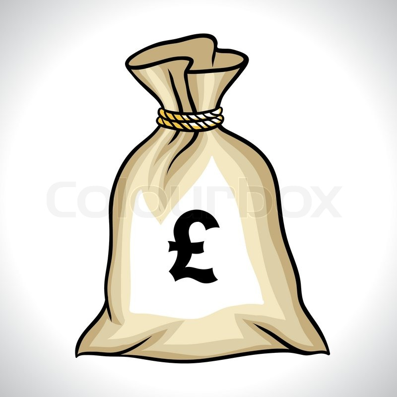 Bag With Money Sign Cartoon: Money Bag With Pound Sign Vector ...
