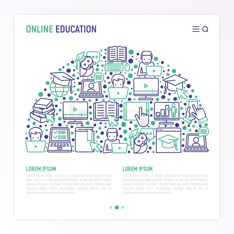 Online education concept in half     | Stock vector | Colourbox
