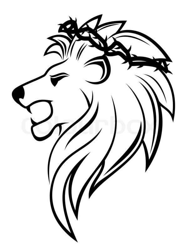 Stock image of 'Heraldic lion with thorny wreath'