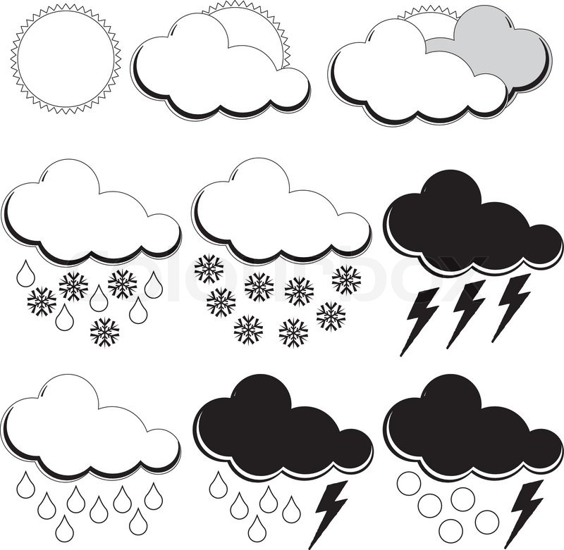 Symbols For Weather Forecasters Stock Vector Colourbox