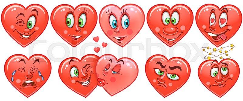 Heart collection  Emoticons  Smiley      | Stock vector