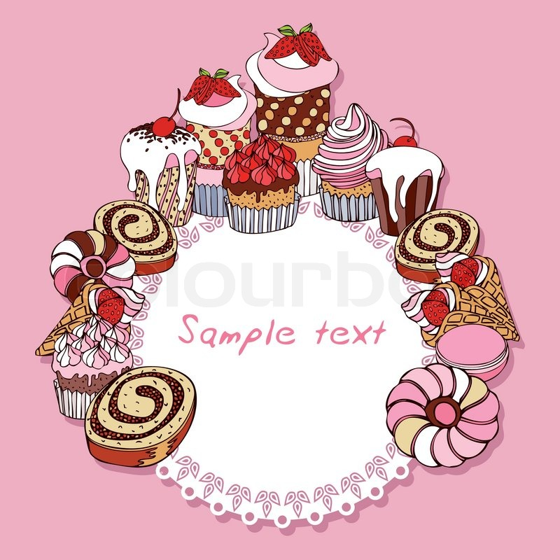 Retro card background with cakes, vintage frame, Invitation, greeting ...