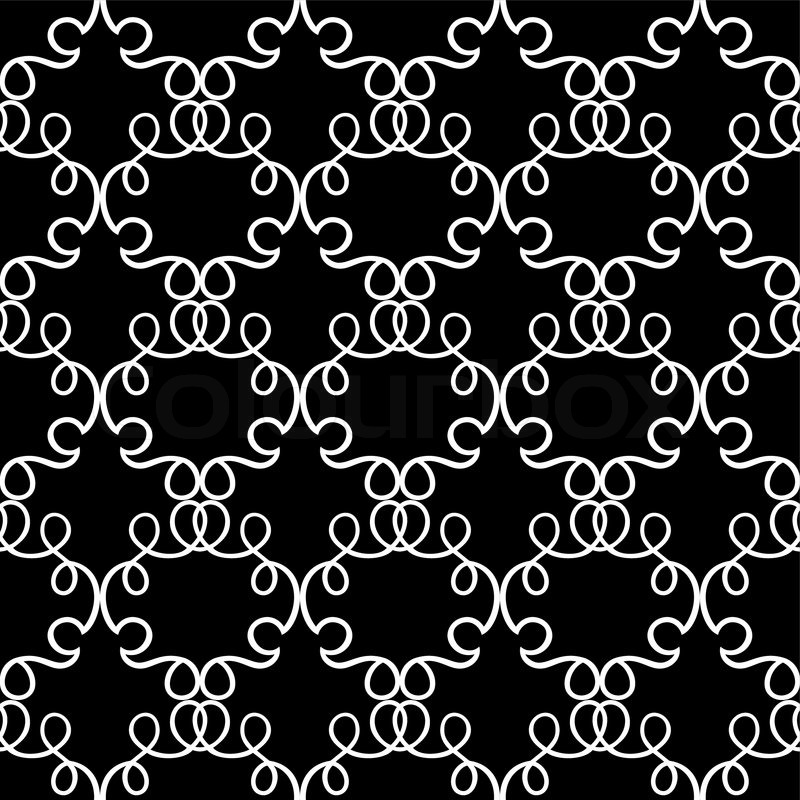 Abstract Damask Background Black And White Fashion Seamless Pattern Monochrome Vector Wallpaper Vintage Fabric Wrapping With Graphic Ornament For