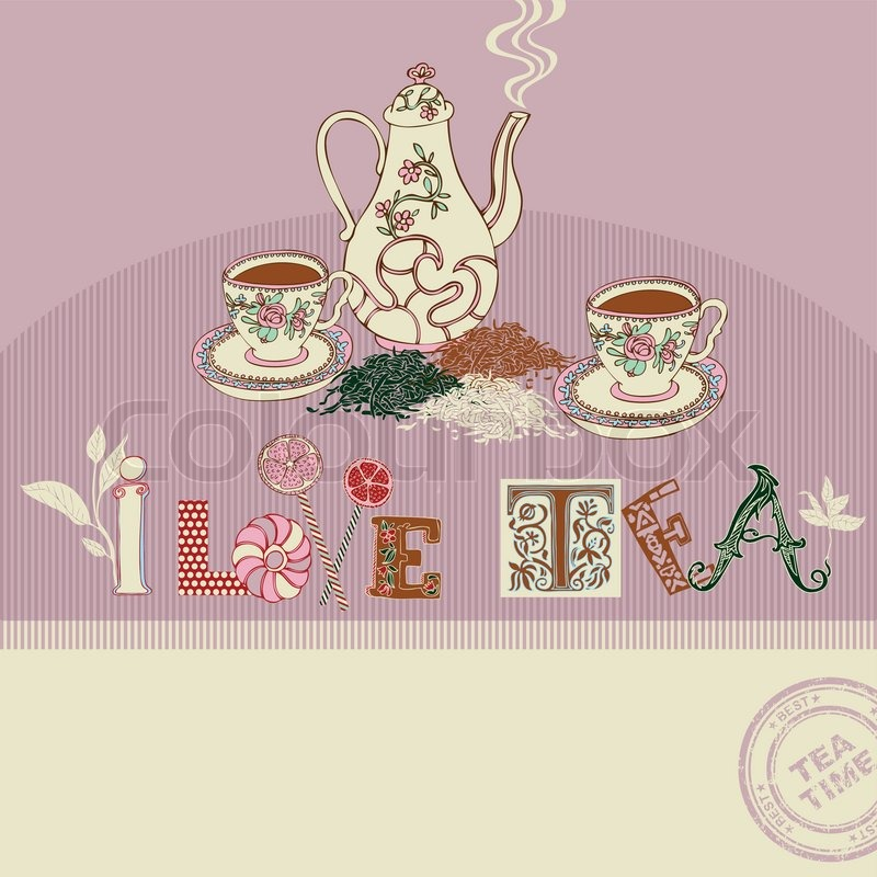 tea time greeting card on abstract background colorful graphic vintage cups and teapot retro. Black Bedroom Furniture Sets. Home Design Ideas