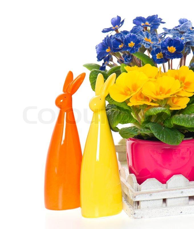 Fr Hlingsblumen Mit Osterhasen Dekoration Stockfoto