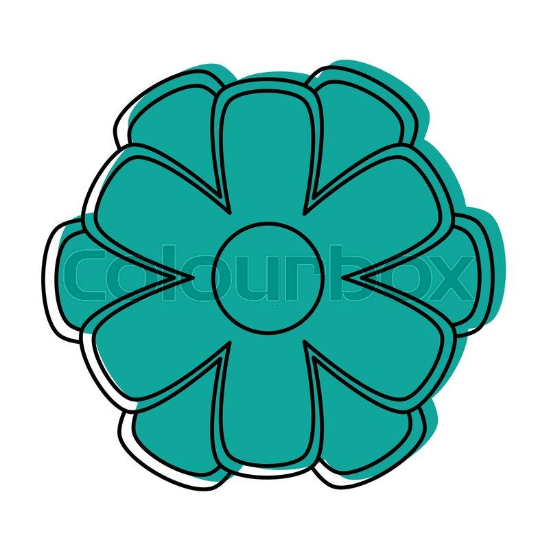 Simple Cartoon Flower Icon Image Stock Vector Colourbox
