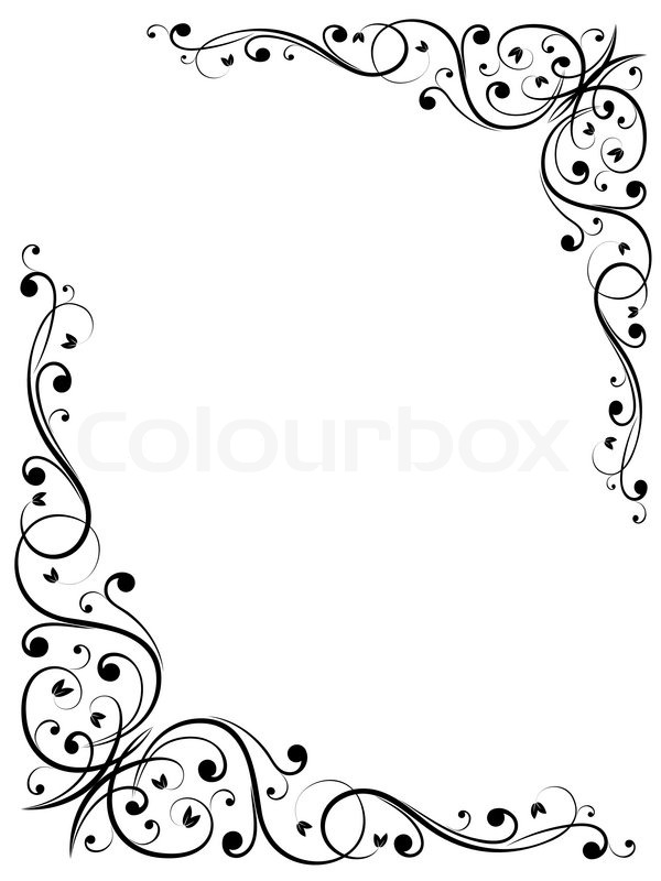 einfachen abstrakten floralen b w vektorgrafik. Black Bedroom Furniture Sets. Home Design Ideas