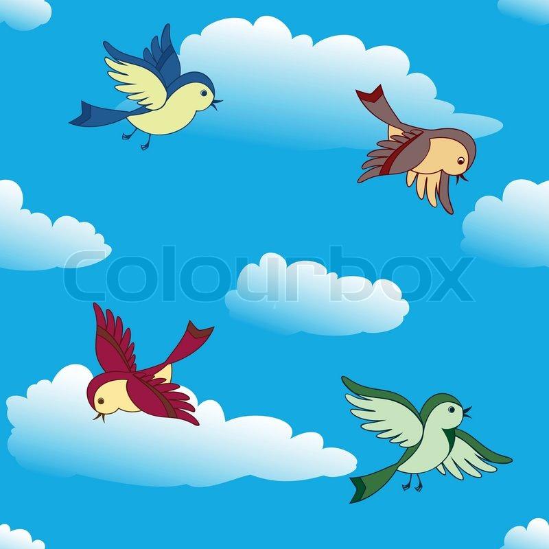 Birds Flying in The Sky Birds Flying in Sky Vector