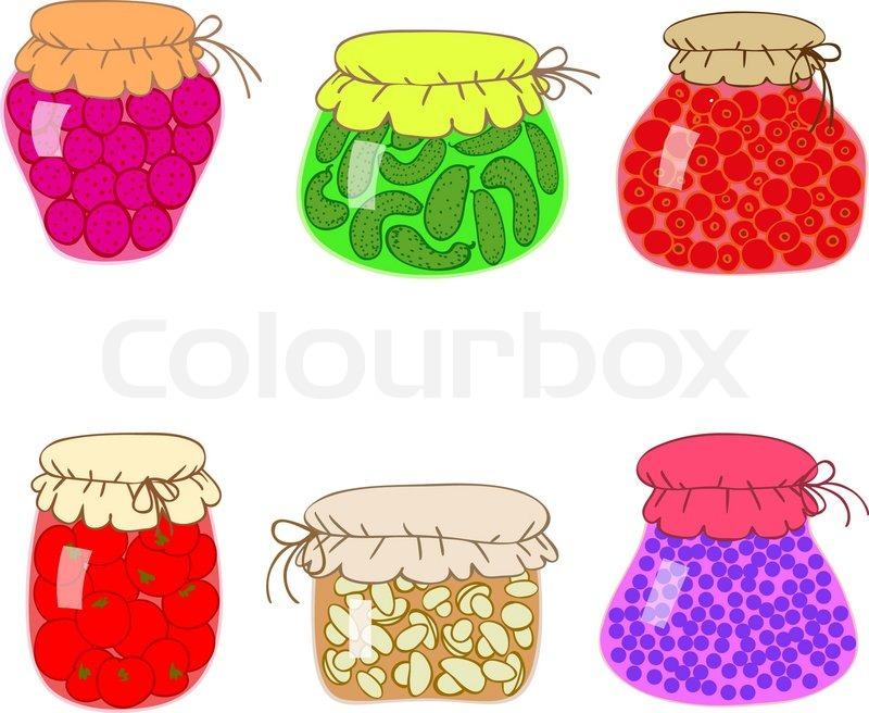 Gl ser mit schont hausgemachte gem se und marmelade vektorgrafik colourbox - Marmelade einkochen glaser ...