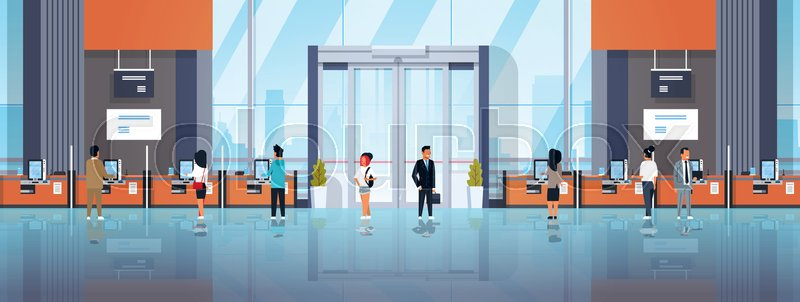 People clients using self service machines payment terminals windows financial operations concept banking equipment modern bank office interior horizontal banner ..., vector