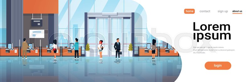 People clients using self service machines payment terminals windows financial operations concept banking equipment modern bank office interior horizontal copy space ..., vector