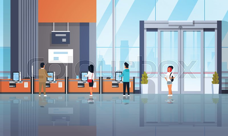 People clients using self service machines payment terminals windows financial operations concept banking equipment modern bank office interior horizontal flat ..., vector