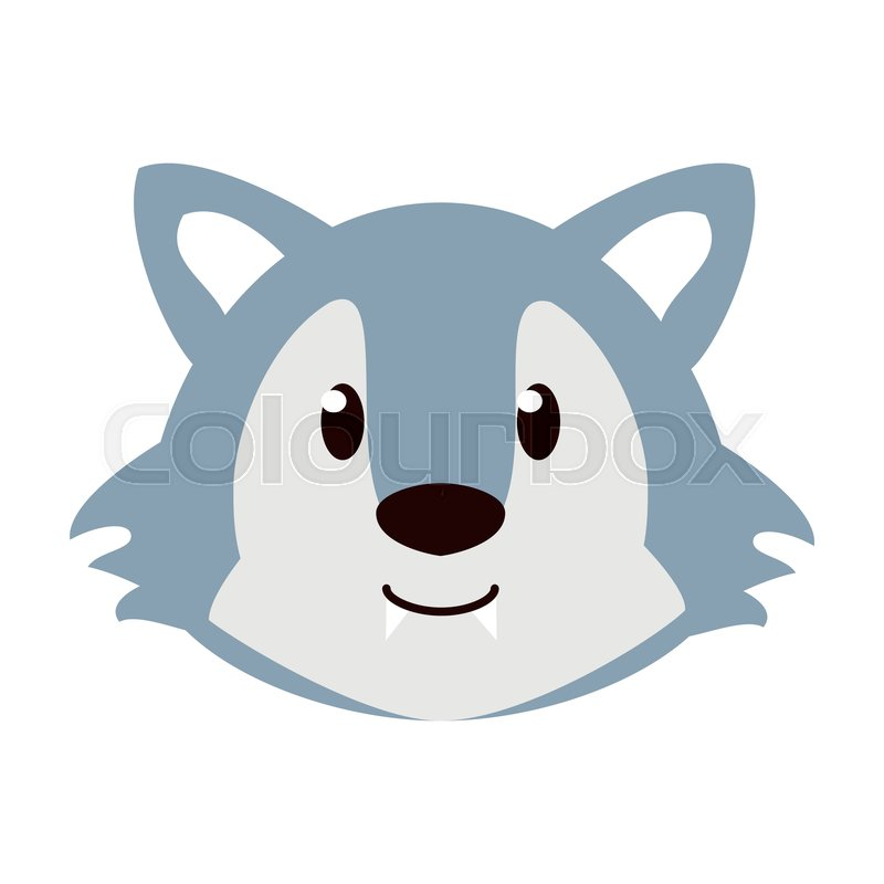 Cute Wolf Cartoon Icon Vector Stock Vector Colourbox