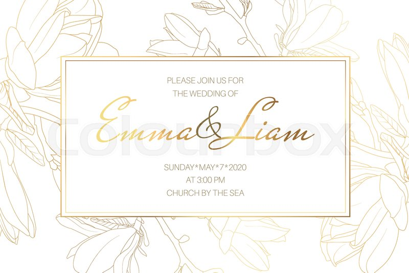 Wedding Marriage Event Invitation Card Stock Vector