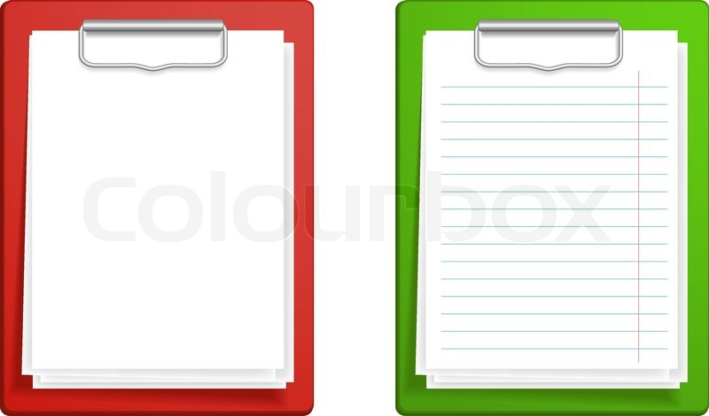 clipboard base white blank paper stock vector colourbox