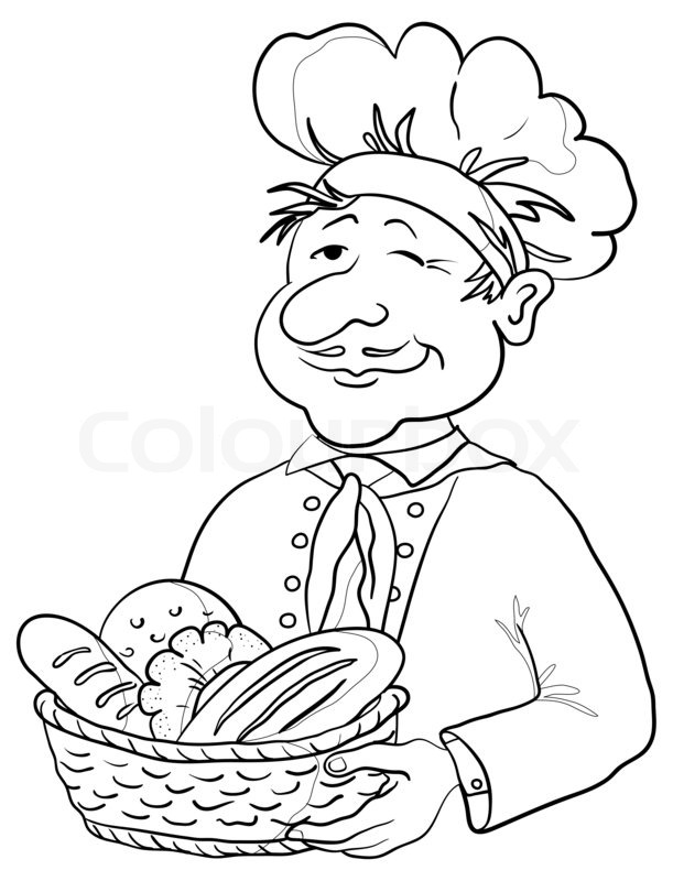 baker with bread basket  contour stock photo colourbox metal clip art for the 49ers football team meal clipart image black and white