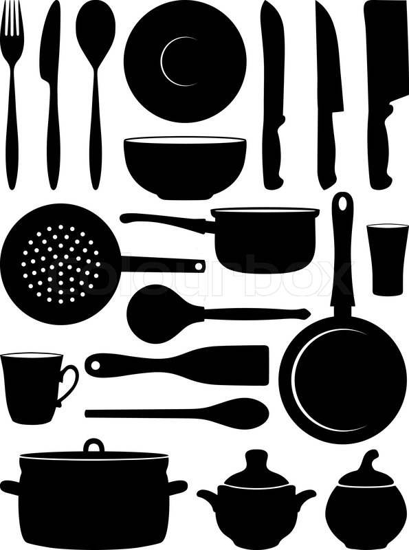 Set Of Silhouettes Dishes Stock Vector Colourbox