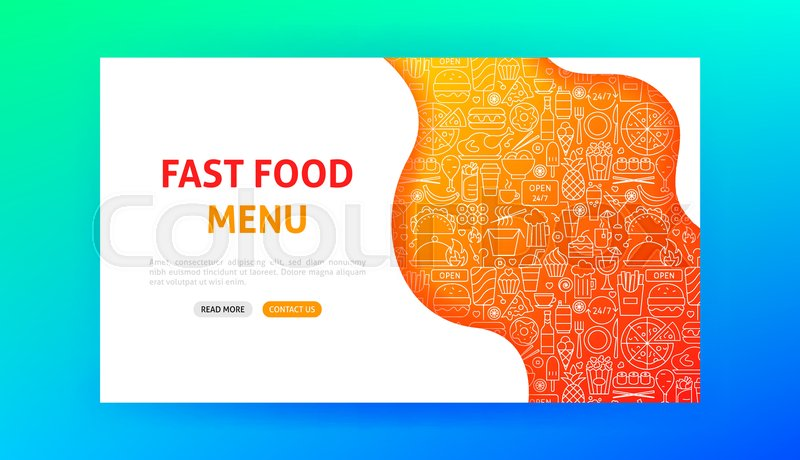 Fast Food Landing Page Vector Stock Vector Colourbox