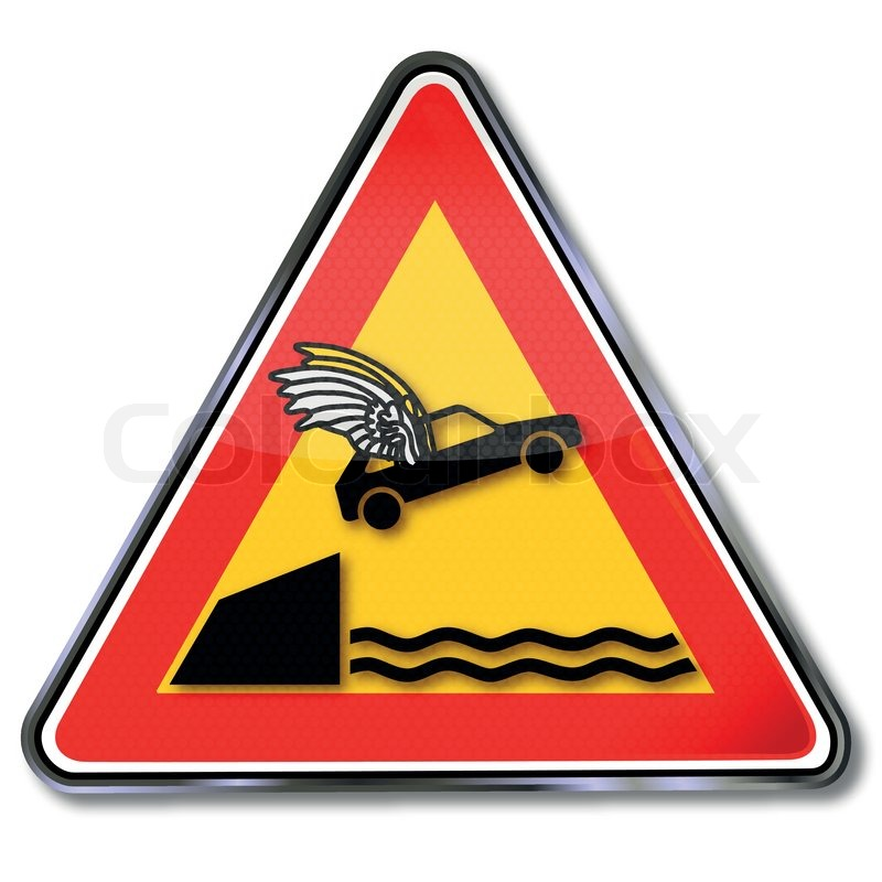 Traffic Sign Car Fun Fly Shore Recklessness Stock Vector