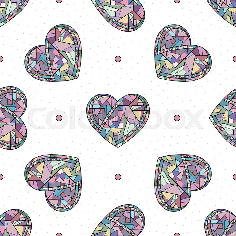 Hearts Hand Drawn Vector Seamless Stock Vector Colourbox
