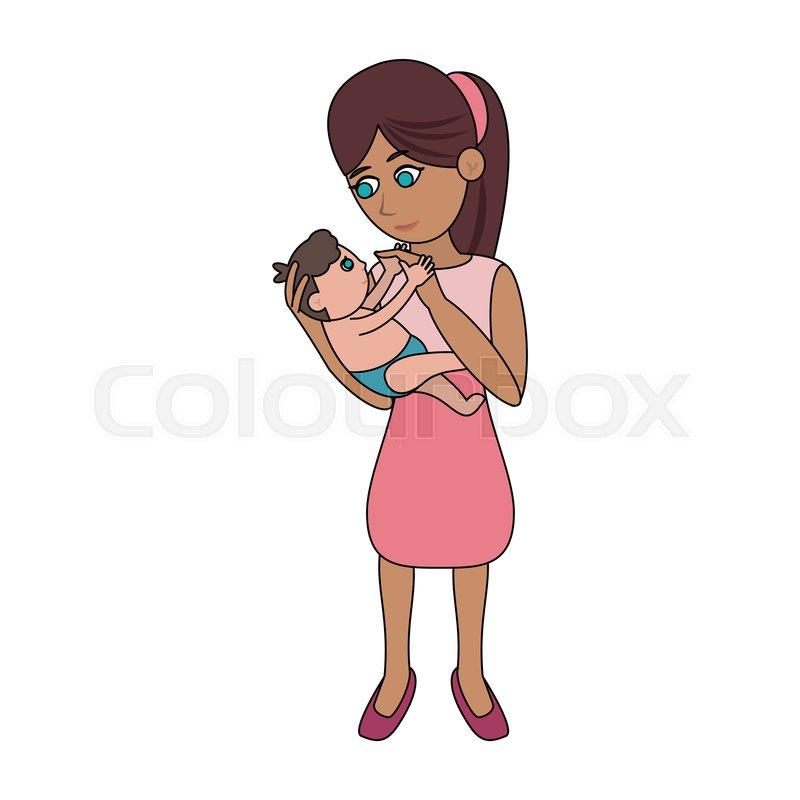 Mom Holding Baby Cartoon Icon Vector Stock Vector Colourbox