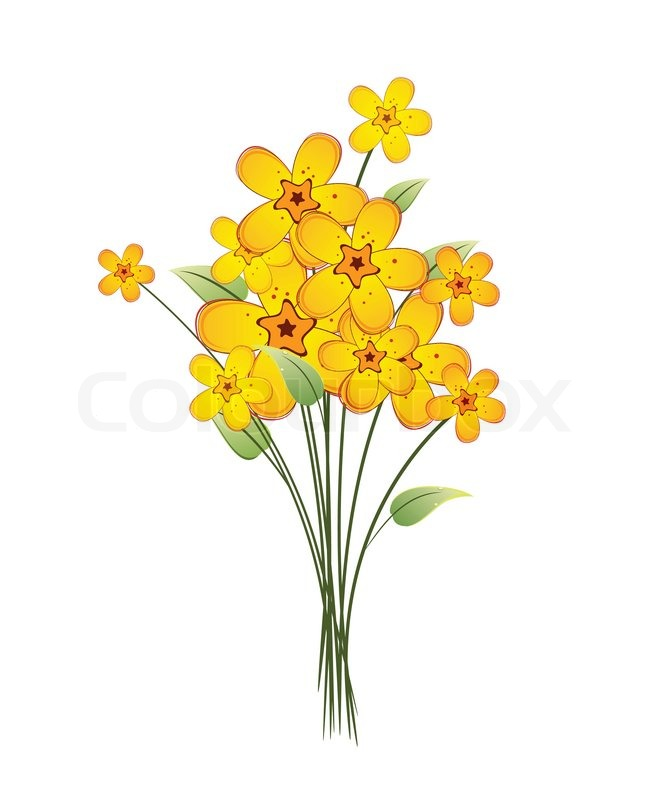 Bouquet of yellow flowers on a white background   Stock ...