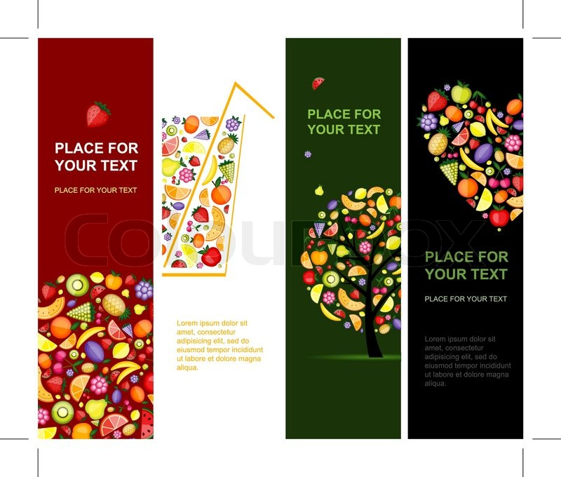 Fruits Banners Vertical For Your Stock Vector