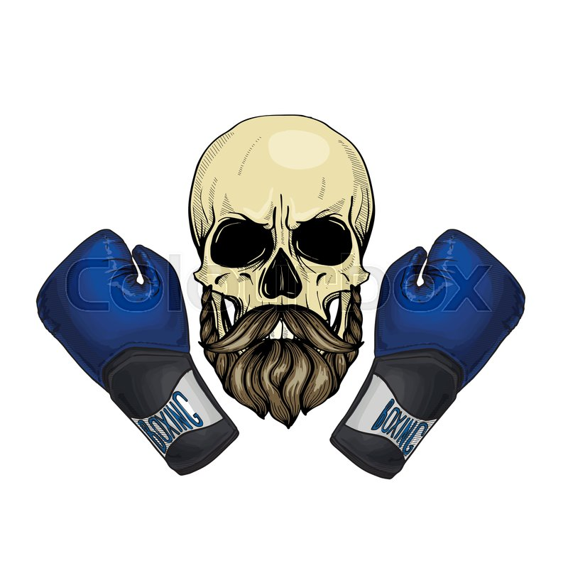 Hand drawn sketch, color skull with boxing gloves, mustaches and beard, vector