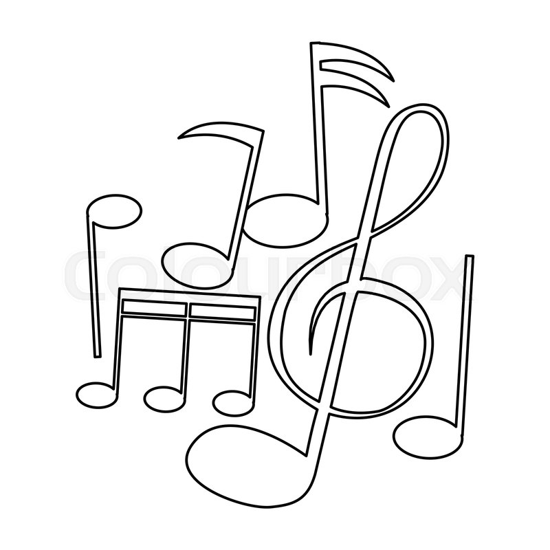 Music Notes Symbols Collection Black Stock Vector